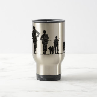 Pixel Art Soldiers Silhouette Travel Mug