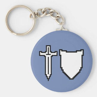 Pixel Art Sword and Shield Keychain