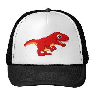 Pixel Art T Rex Cartoon Dinosaur Cap