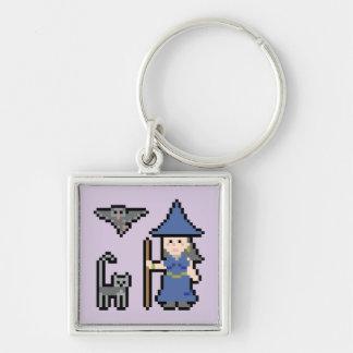 Pixel Art Witch Keychain