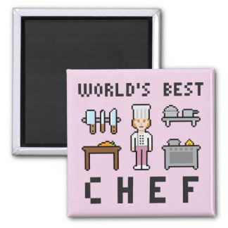 Pixel Best Female Chef Square Magnet
