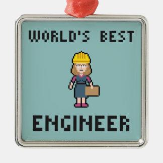 Pixel Best Female Engineer Christmas Ornament