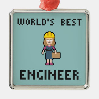 Pixel Best Female Engineer Silver-Colored Square Decoration