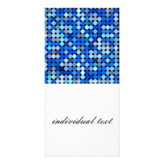 Pixel blue, aqua photo card