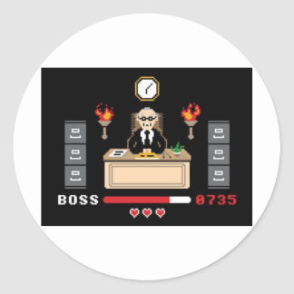 Pixel 'Boss' Design - GeekShirts Classic Round Sticker