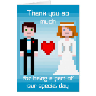 Pixel Bride and Groom - Thank You - Blue Card