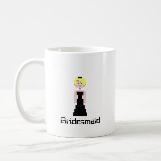 Pixel Bridesmaid - Black Basic White Mug