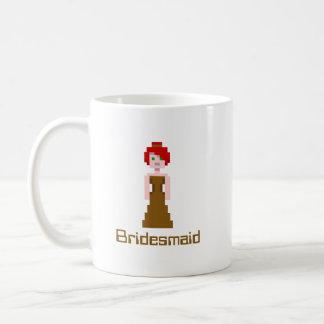 Pixel Bridesmaid - Brown Basic White Mug