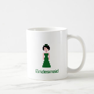 Pixel Bridesmaid - Green Basic White Mug