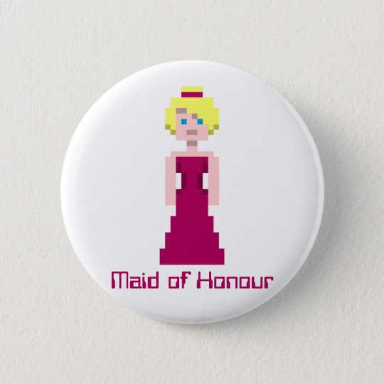 Pixel Bridesmaid - Maroon Custom 6 Cm Round Badge