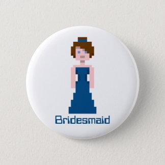 Pixel Bridesmaid - Navy 6 Cm Round Badge