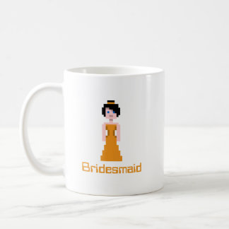 Pixel Bridesmaid - Orange Basic White Mug