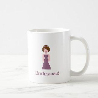 Pixel Bridesmaid - Pink with Brown Eyes Custom Basic White Mug