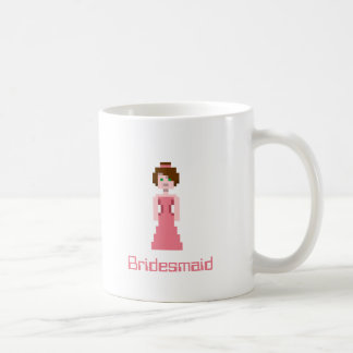 Pixel Bridesmaid - Pink with Green Eyes Custom Basic White Mug