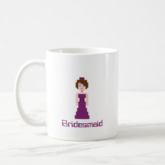 Pixel Bridesmaid - Plum Basic White Mug