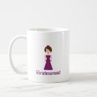 Pixel Bridesmaid - Plum Basic White Mug
