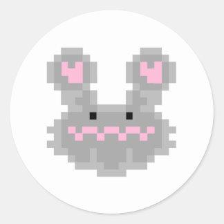 Pixel Bunny Rabbit Round Sticker