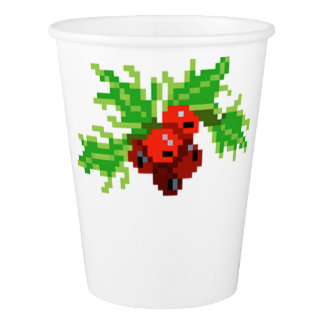 Pixel Christmas Holly Wreath Paper Cup