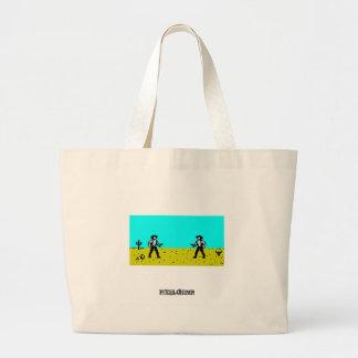 Pixel Cowboy Scene Canvas Bags