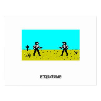 Pixel Cowboy Scene Postcard