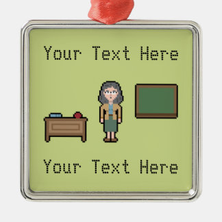 Pixel Custom Female Teacher Silver-Colored Square Decoration