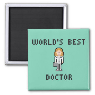 Pixel Female Doctor Magnet 2 Inch Square Magnet