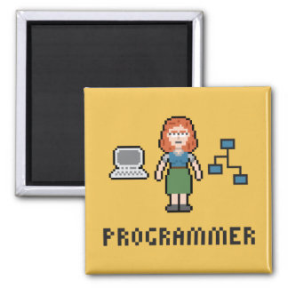 Pixel Female Programmer Magnet