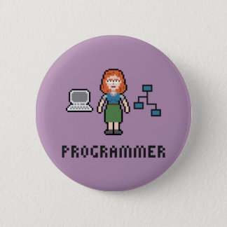 Pixel Female Programmer Round Button