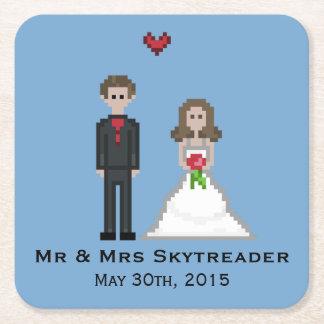 Pixel Gamer Bride & Groom Wedding Coaster