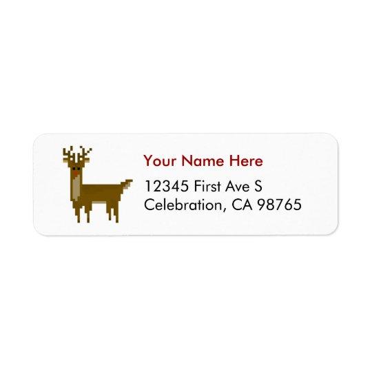 Pixel Gamer Christmas Rudolph Reindeer Label
