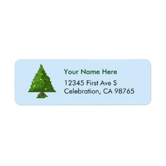 Pixel Gamer Inspired Christmas Tree Address Label