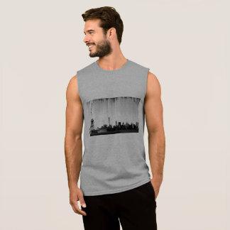 Pixel Glitch New York Skyline Design Sleeveless Shirt