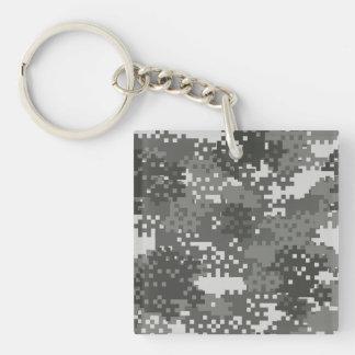 Pixel Grey & White Urban Camouflage Double-Sided Square Acrylic Key Ring