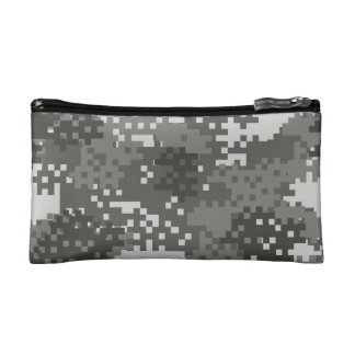 Pixel Grey & White Urban Camouflage Makeup Bags
