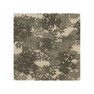 Pixel Grey & White Urban Camouflage Wood Print