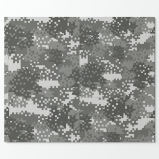 Pixel Grey & White Urban Camouflage Wrapping Paper
