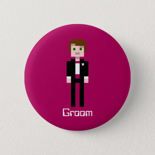 Pixel Groom - Maroon - Custom 6 Cm Round Badge