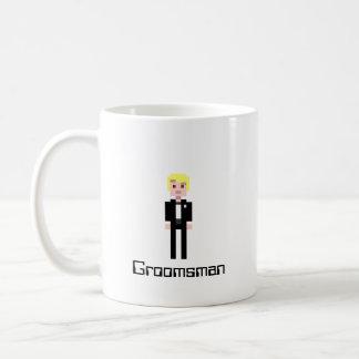 Pixel Groomsman - Black Basic White Mug