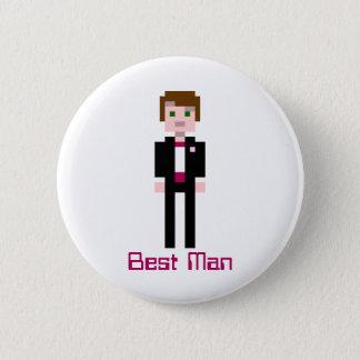 Pixel Groomsman - Maroon 6 Cm Round Badge