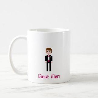 Pixel Groomsman - Maroon Basic White Mug