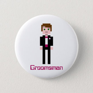 Pixel Groomsman - Maroon - Custom 6 Cm Round Badge