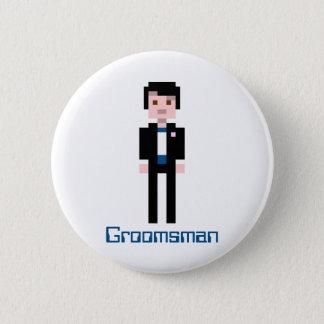 Pixel Groomsman - Navy 6 Cm Round Badge