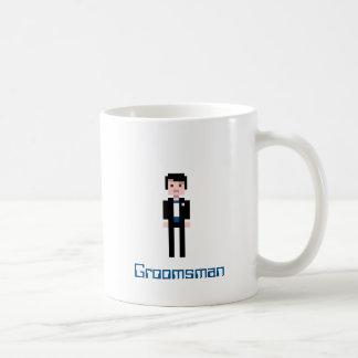 Pixel Groomsman - Navy Basic White Mug