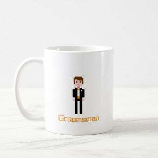 Pixel Groomsman - Orange Basic White Mug