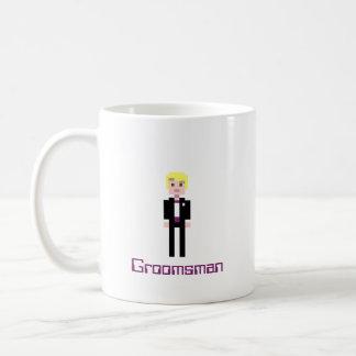 Pixel Groomsman - Plum Basic White Mug