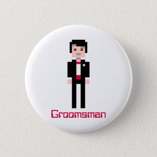 Pixel Groomsman - Red 6 Cm Round Badge