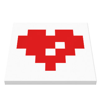 Pixel Heart 8 Bit Love Canvas Print