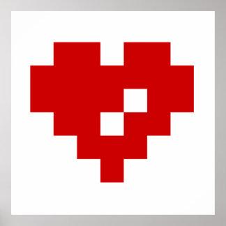 Pixel Heart 8 Bit Love Poster