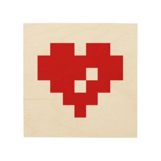 Pixel Heart 8 Bit Love Wood Canvases
