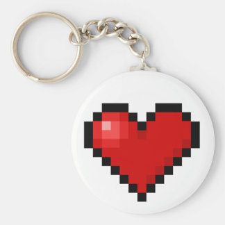 Pixel heart basic round button key ring